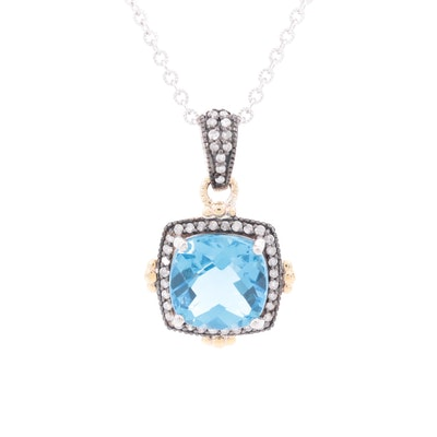 Sterling Blue Topaz and Diamond Pendant Necklace with 10K Yellow Gold Accents