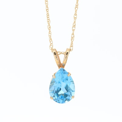 14K Yellow Gold Blue Topaz Pendant Necklace