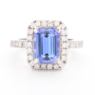 14K White Gold 3.10 CT Tanzanite and Diamond Ring