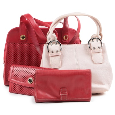 Tignanello and Medallion Handbags and Wallets Including Pink and Red Leather