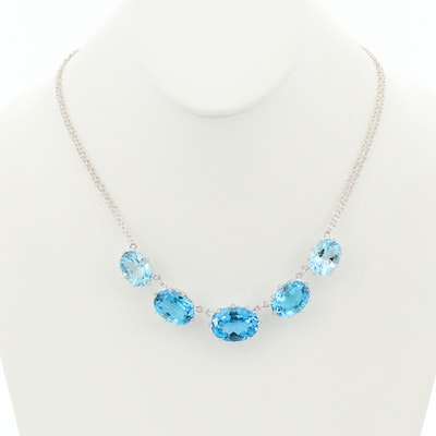 Sterling Silver Topaz Graduating Necklace