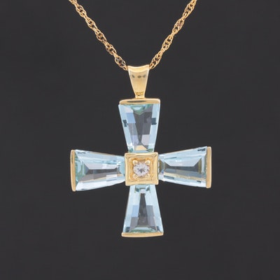 Sterling Silver White and Blue Topaz Cross Pendant Necklace