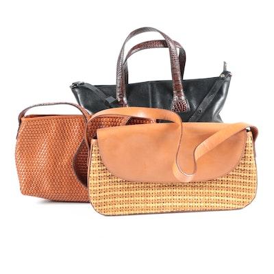 Brahmin Woven and Crocodile Embossed Leather Handbags, Vintage