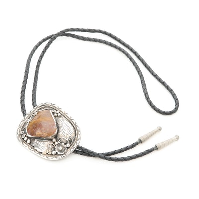 Southwestern Style Sterling Silver Agate Bolo Tie