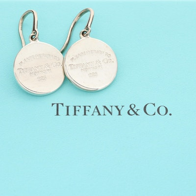 """Tiffany & Co. """"Return to Tiffany"""" Sterling Silver Round Tag Dangle Earrings"""