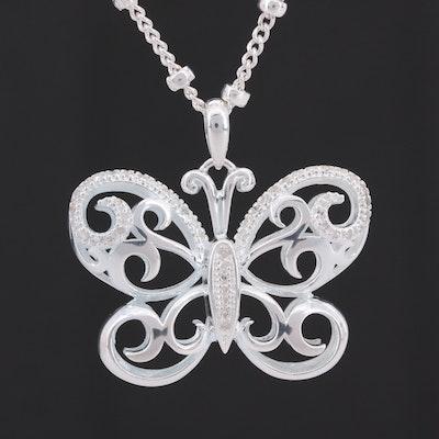 Fine Silver Diamond Butterfly Pendant Necklace