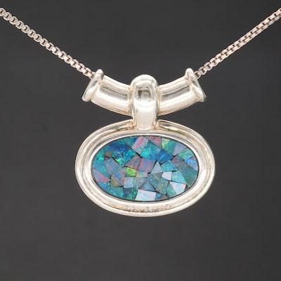 Sterling Silver Opal in Resin Pendant Necklace