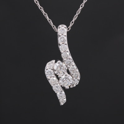 14K White Gold 2.04 CTW Diamond Pendant Necklace