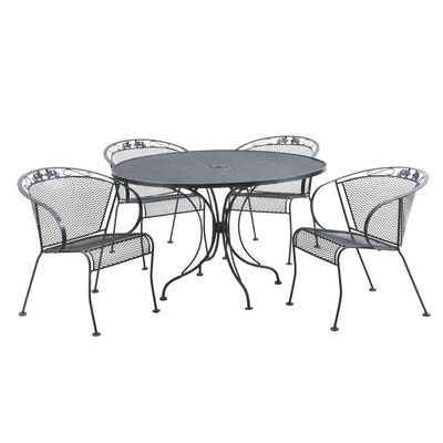 Wrought Metal Patio Dining Set, Contemporary