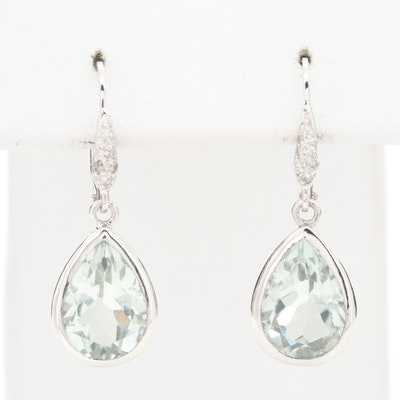 Sterling Silver Praseolite Drop Earrings