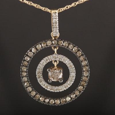 14K Yellow Gold Diamond Pendant Necklace