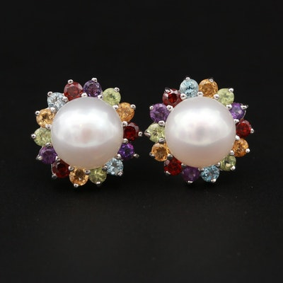 Sterling Silver Earrings with Cultured Pearl, Peridot and Garnet