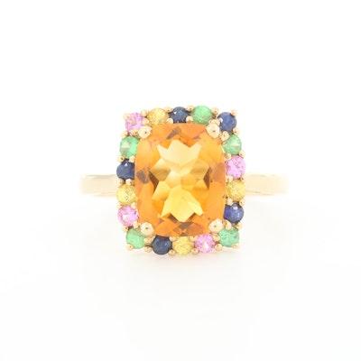 10K Yellow Gold Citrine, Sapphire and Tsavorite Ring