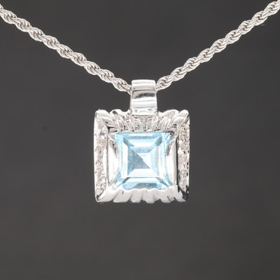 18K White Gold Blue Topaz and Cubic Zirconia Pendant Necklace