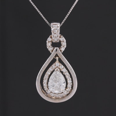 14 White Gold 1.36 CTW Diamond Articulated Pendant Necklace