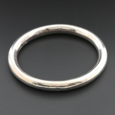 Mexican Sterling Silver Rounded Oval Bangle Bracelet