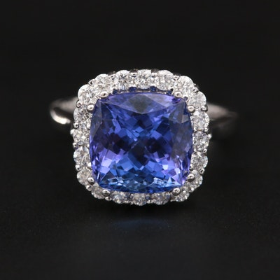 14K White Gold 4.58 CT Tanzanite and Diamond Ring