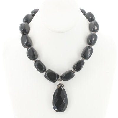 Black Glass Beaded Pendant Necklace with Sterling Silver Findings