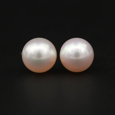 Mikimoto 14K White Gold Cultured Pearl Stud Earrings with Pouch