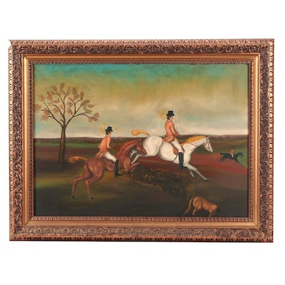 English Hunting Scene Oil Painting