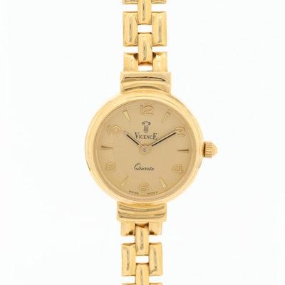 14K Gold Vincence Quartz Wristwatch