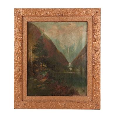 H. Larkins Hudson River School Style Landscape Oil Painting