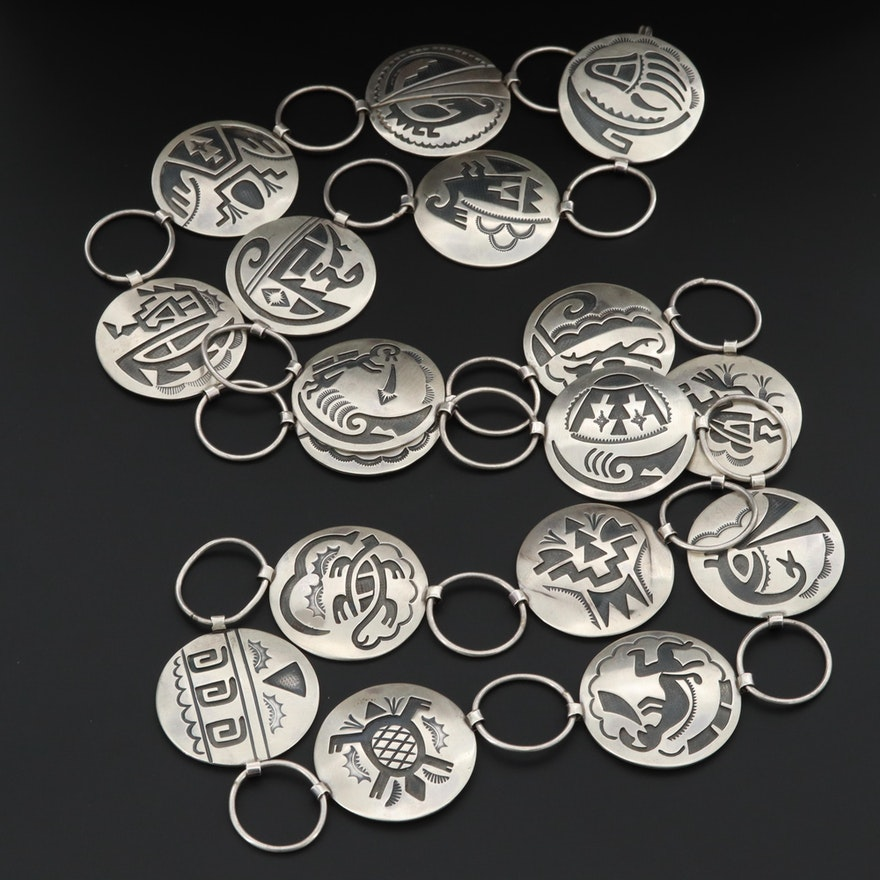 Southwestern Style Sterling Silver Overlay Belt