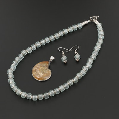 Necklace, Earrings and Pendant Including Sterling, Ammonite and Glass