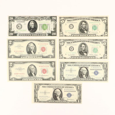 Seven U.S. Currency Notes