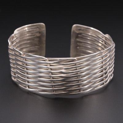 Sterling Silver Interwoven Cuff Bracelet