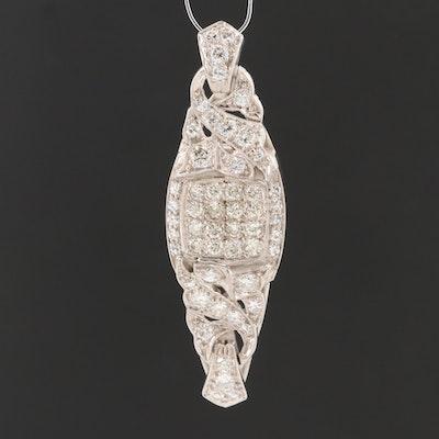 Vintage 14K White Gold 1.84 CTW Diamond Pendant
