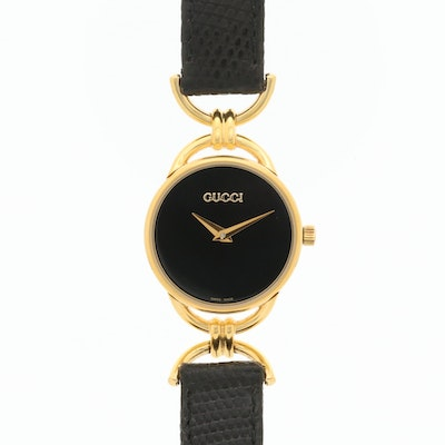 Gucci Black Dial Gold Plated Quartz Wristwatch