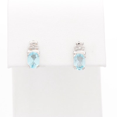 18K White Gold Diamond and Blue Topaz Earrings