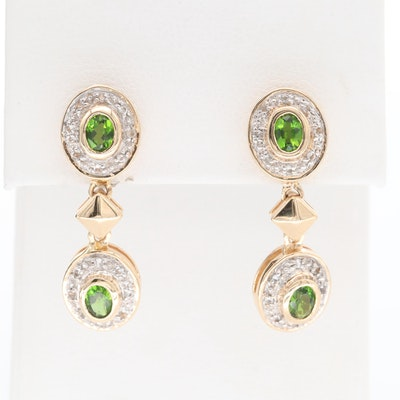 14K Yellow Gold Diopside and White Spinel Dangle Earrings