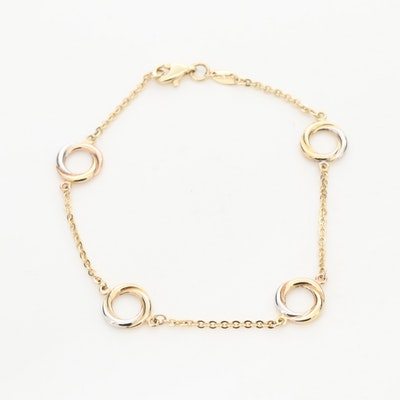 14K Yellow, White and Rose Gold Bracelet