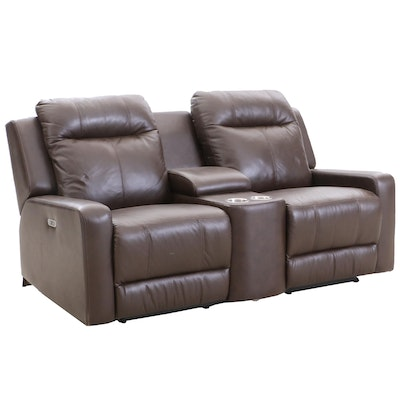 Electric Reclining Vinyl Loveseat with Console, Contemporary