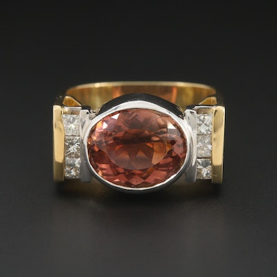 18K Yellow Gold Tourmaline and Diamond Squared Shank Ring with 14K Gold Bezel
