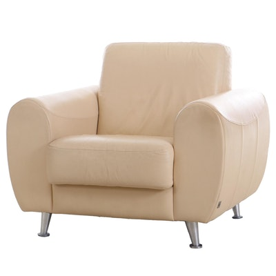 "Ivory Leather Upholstered ""Calia"" Club Chair, Contemporary"