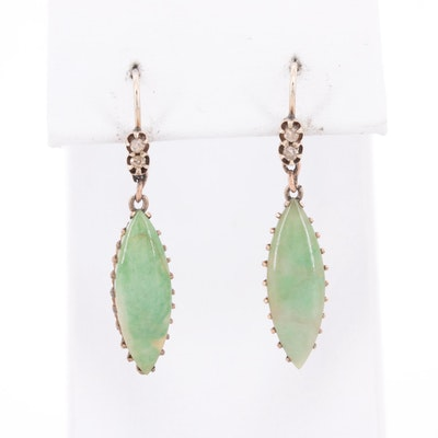 Vintage 9K and 10K Yellow Gold Jadeite and Diamond Earrings