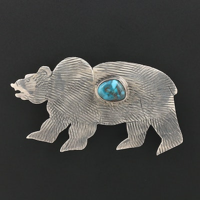 Tom Willeto Navajo Diné Sterling Silver Turquoise Bear Brooch