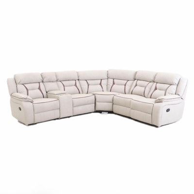 Six-Piece Faux-Leather Reclining Sectional Sofa, Contemporary
