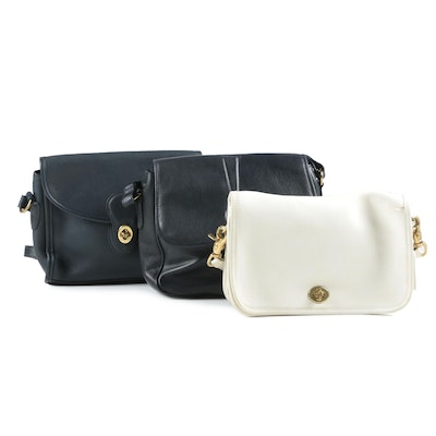 Coach City Bags and Etienne Aigner in Midnight Blue, White, and Black Leather