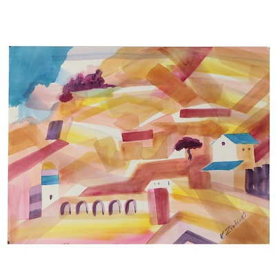 Kathleen Zimbicki Watercolor of Architectural Landscape