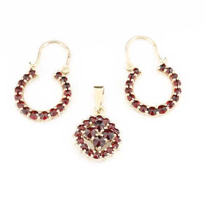900 Silver Garnet Pendant and Earrings Set