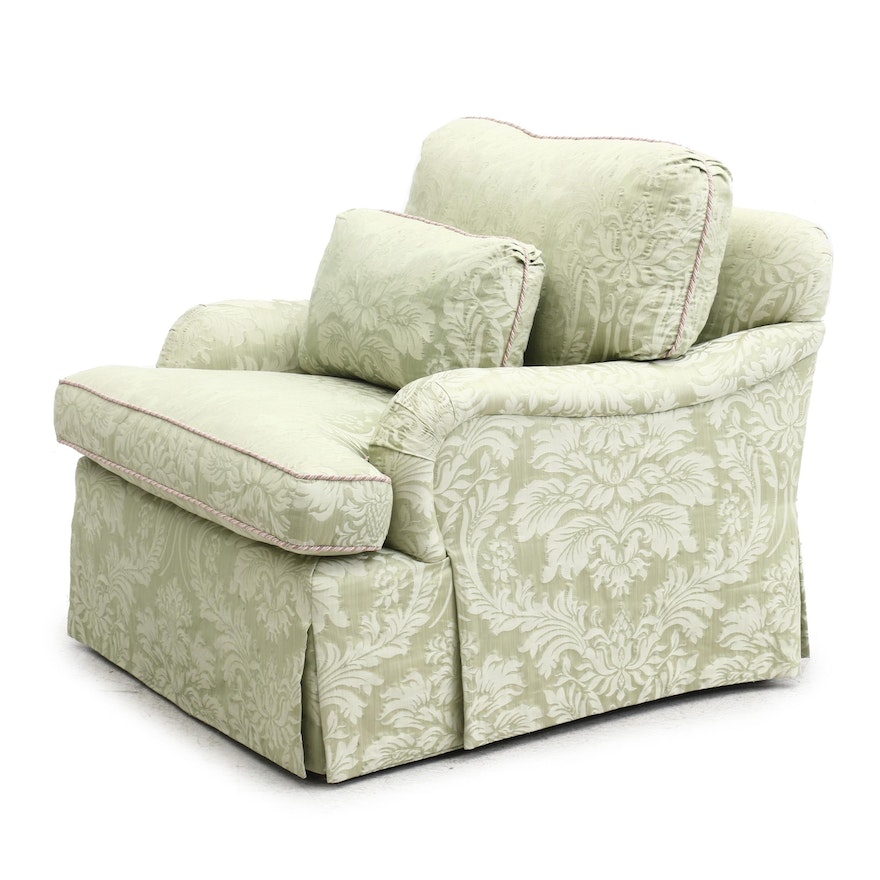 Century Damask Upholstered Lounge Chair