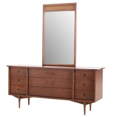 Mid Century Modern Bassett Walnut Dresser with Mirror
