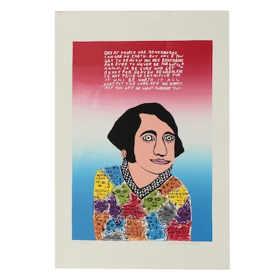 "Howard Finster Limited Edition Serigraph ""Young George"""