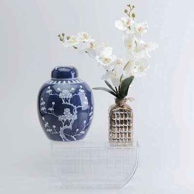Asian Inspired Home Decor Featuring an Orchid and Ginger Jar