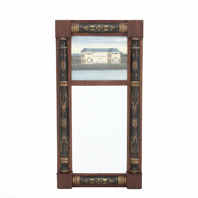 Barrister Federal Gilt Stenciled Wall Mirror in Mahogany, Circa 1820s-1830s