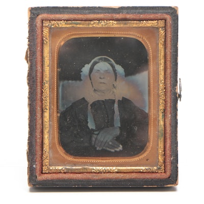Late 19th Century Tintype Portrait Photograph of Victorian Woman at Rest